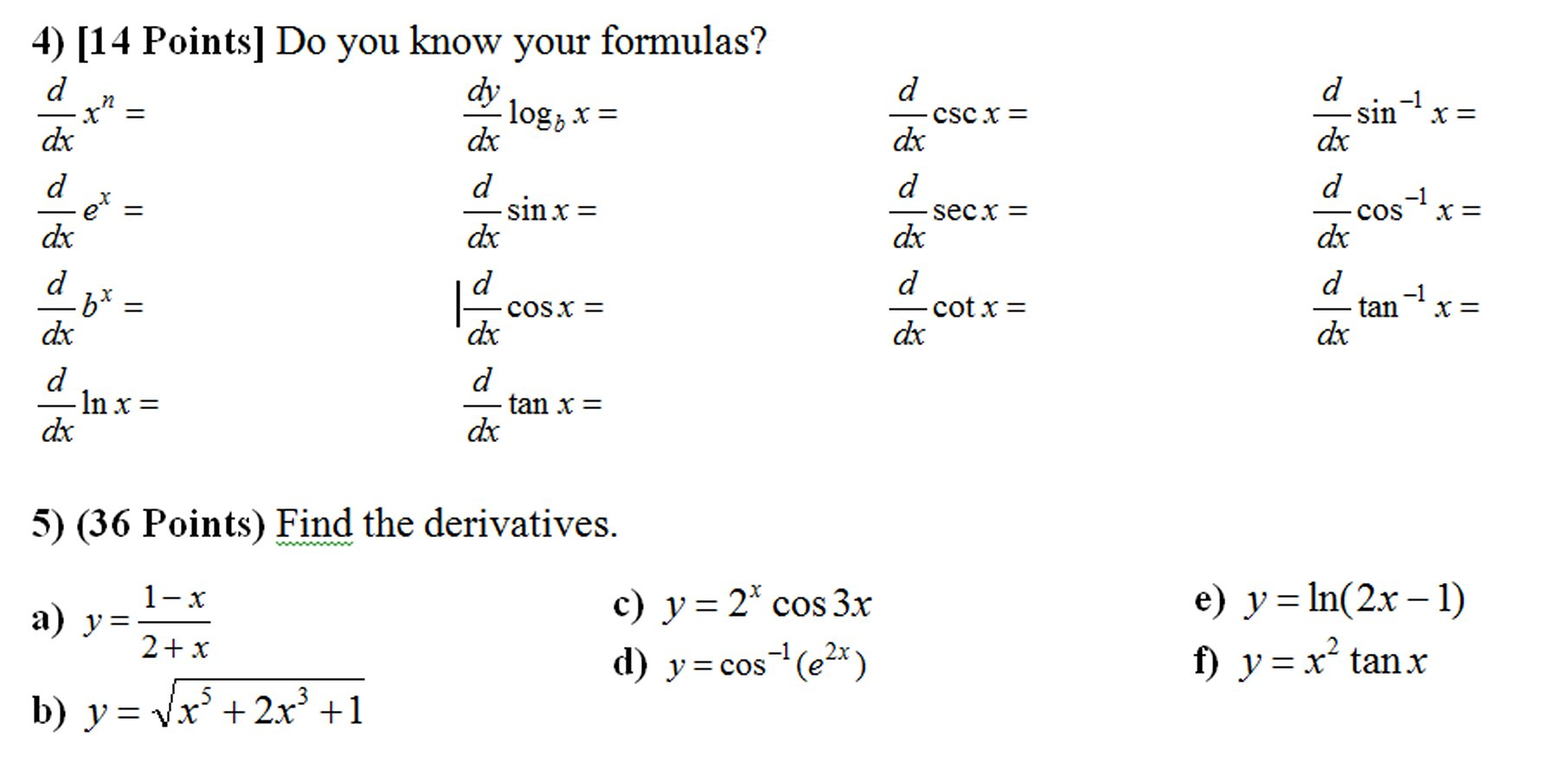 basic derivative problems What is a derivative how to use the definition of the derivative how to use the definition of the derivative practice problems basic derivative rules.